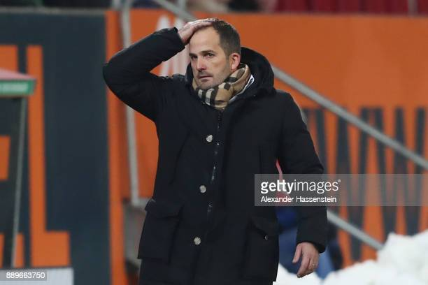 Manuel Baum head coach of Augsburg reacts during the Bundesliga match between FC Augsburg and Hertha BSC at WWKArena on December 10 2017 in Augsburg...