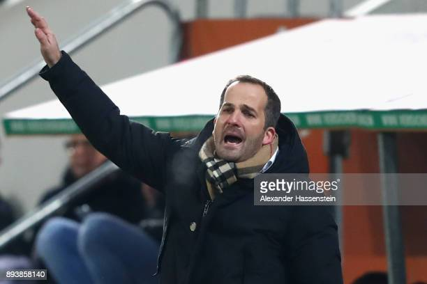 Manuel Baum head coach of Augsburg reacts during the Bundesliga match between FC Augsburg and SportClub Freiburg at WWKArena on December 16 2017 in...