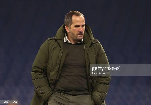 Manuel Baum, Head Coach of FC Schalke 04 looks on prior to the Bundesliga match between FC Schalke 04 and Bayer 04 Leverkusen at Veltins-Arena on...