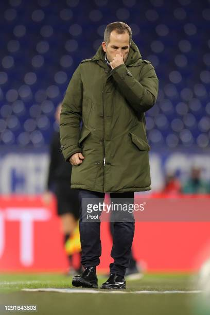 Manuel Baum, Head Coach of FC Schalke 04 reacts during the Bundesliga match between FC Schalke 04 and Sport-Club Freiburg at Veltins-Arena on...