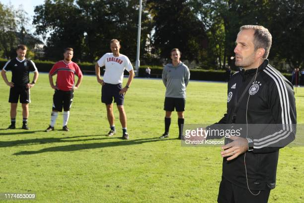 Manuel Baum, head coach of Germany U20 leads a training session during the DFB-Elite-Youth-Coach-Workshop at SportCentrum Kaiserau on September 14,...