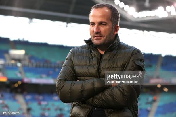 Manuel Baum, head coach of Schalke looks on prior to the Bundesliga match between RB Leipzig and FC Schalke 04 at Red Bull Arena on October 03, 2020...