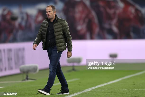 Manuel Baum, head coach of Schalke reacts after the Bundesliga match between RB Leipzig and FC Schalke 04 at Red Bull Arena on October 03, 2020 in...
