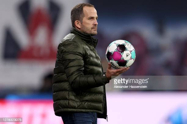 Manuel Baum, head coach of Schalke reacts during the Bundesliga match between RB Leipzig and FC Schalke 04 at Red Bull Arena on October 03, 2020 in...