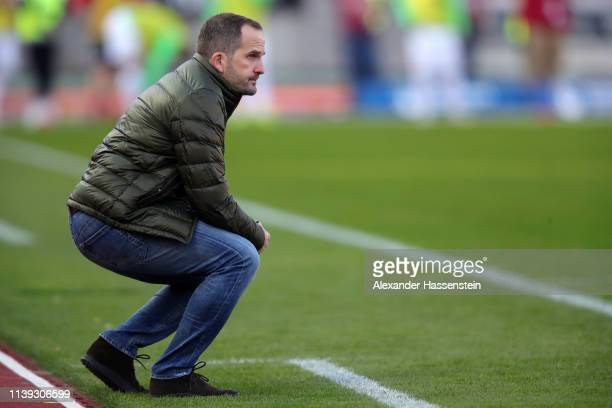 Manuel Baum, Manager of Augsburg looks on during the Bundesliga match between 1. FC Nuernberg and FC Augsburg at Max-Morlock-Stadion on March 30,...