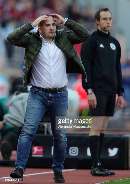 Manuel Baum, Manager of Augsburg reacts during the Bundesliga match between 1. FC Nuernberg and FC Augsburg at Max-Morlock-Stadion on March 30, 2019...