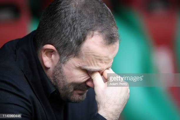 Manuel Baum, Manager of Augsburg reacts prior to the Bundesliga match between FC Augsburg and TSG 1899 Hoffenheim at WWK-Arena on April 07, 2019 in...