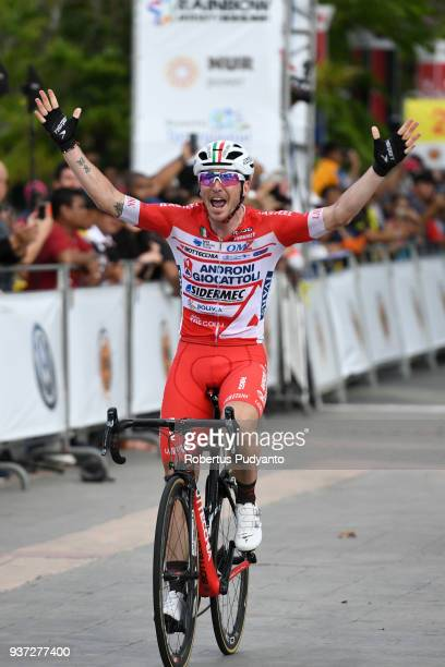 Manuel Belletti of Androni Giocattoli-Sidermec Italy celebrates victory after winning Stage 7 of the Le Tour de Langkawi 2018, Nilai-Muar 222.4 km on...