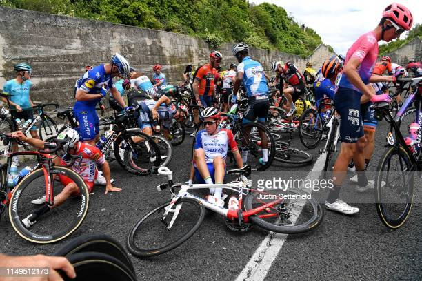 Manuel Belletti of Italy and Team Androni Giocattoli - Sidermec / Fabio Sabatini of Italy and Team Deceuninck - Quick-Step / Miles Scotson of...