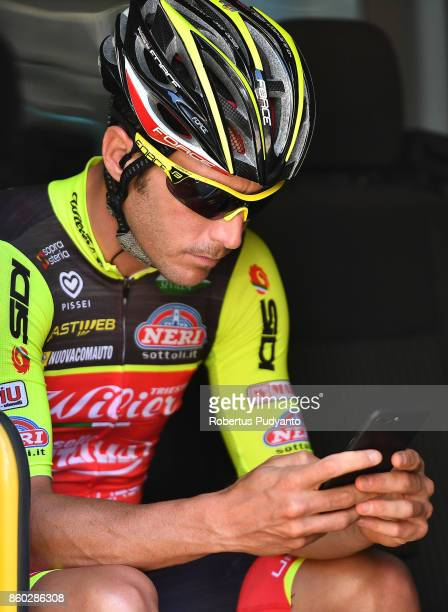 Manuel Belletti of Wilier Triestina Selle Italia Italy plays a cell phone during Stage 2 of the 53rd Presidential Cycling Tour of Turkey 2017,...