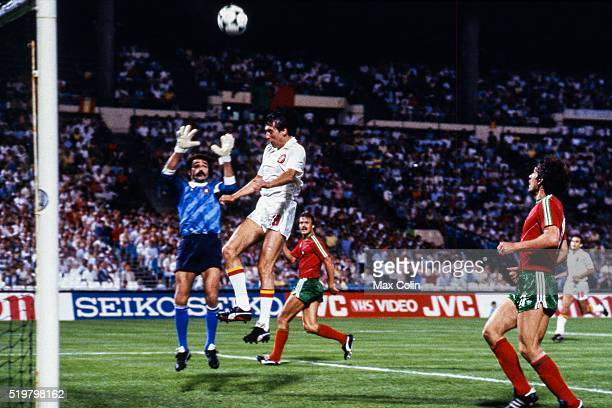 Manuel Bento of Portugal and Carlos Santillana of Spain during the Football European Championship between Portugal and Spain Marseille France on 17...
