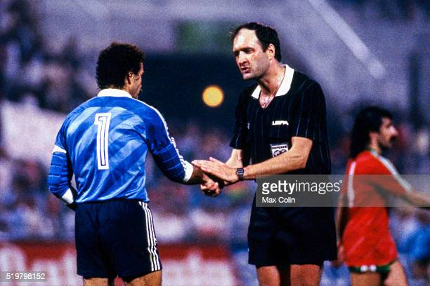 Manuel Bento of Portugal and referee Michel Vautrot during the Football European Championship between Portugal and Spain Marseille France on 17 June...