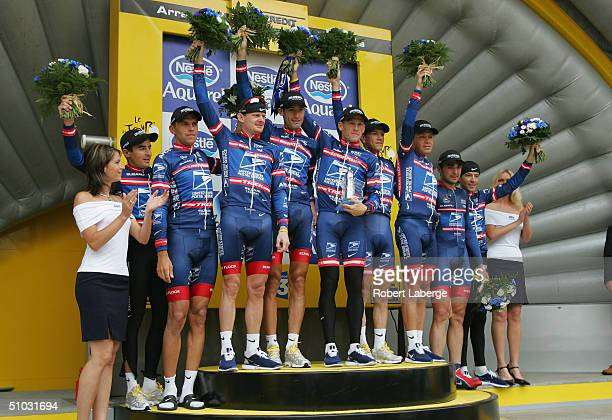 Manuel Bertrand of Spain Pavel Padrnos of the Czech Republic Floyd Landis of the US George Hincapie of the US Lance Armstrong of the US Jose Azevedo...