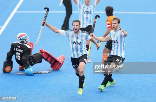 Manuel Brunet of Argentina celebrates scoring their teams second goal during the semifinal match between Argentina and Malaysia on day eight of the...