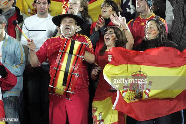 Manuel Caceres alias Manolo el del bombo cheers with ohter Spanish fans in the audience during friendly football match between Finland and Spain 17...