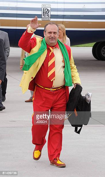 Manuel Caceres Artesero better known as Manolo the Spanish national football team's most famous supporter arrives at the airport in Innsbruck Austria...