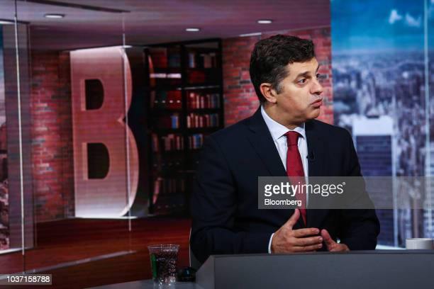 Manuel Caldeira Cabral Portugal's economy minister speaks during a Bloomberg Television interview in New York US on Friday Sept 21 2018 Cabral said...