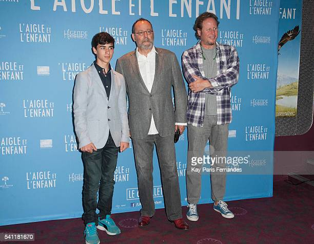 Manuel Camacho Jean Reno and Gerardo Olivares attend the 'L Aigle et L Enfant' Photocall at the cinema Gaumont Capucines on June 19 2016 in Paris...