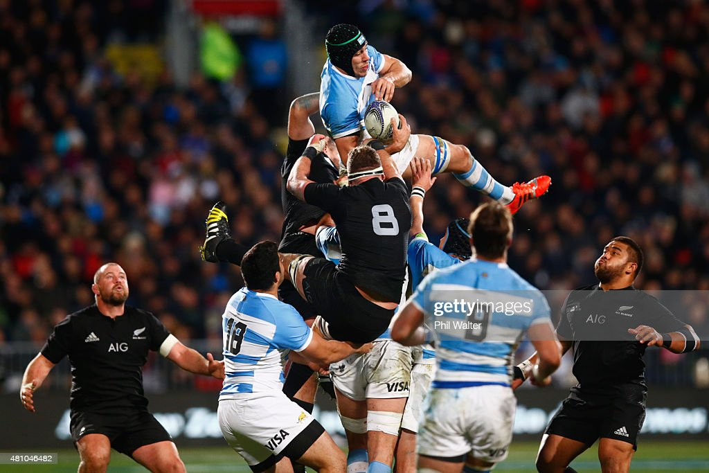 Manuel Carizza of Argentina takes the high ball during The Rugby Championship match between the New Zealand All Blacks and Argentina at AMI Stadium on July 17, 2015 in Christchurch, New Zealand.