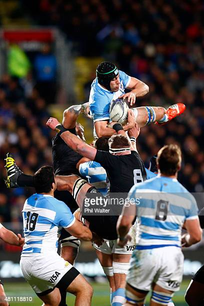 Manuel Carizza of Argentina takes the high ball during The Rugby Championship match between the New Zealand All Blacks and Argentina at AMI Stadium...