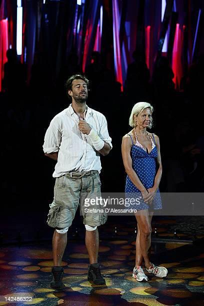 Manuel Casella and Antonella Elia attend 'L'Isola dei Famosi' Final on April 5 2012 in Milan Italy
