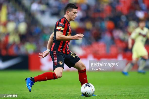 Manuel Castro of Atlanta United drives the ball during a quarter final first leg match between Club America and Atlanta United as part of CONCACAF...