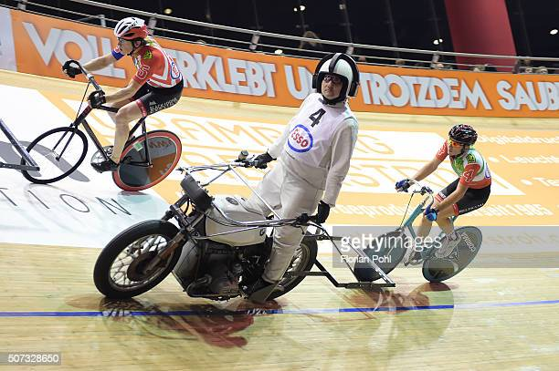 Manuel Cazzaro with pacemaker Gerd Gessler during the SixDaysRace at the Velodrom on January 28 2016 in Berlin Germany