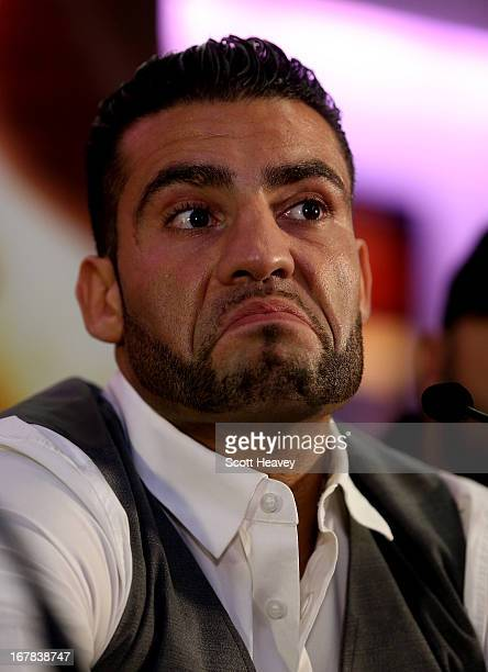 Manuel Charr during a press conference to announce his upcoming Heavyweight bout against David Haye at Manchester Arena on May 1 2013 in Manchester...