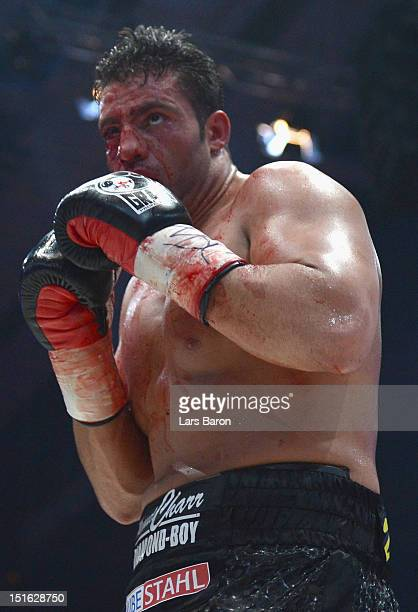 Manuel Charr of Germany is seen during the WBCheavy weight title fight between Vitali Klitschko of Ukraine and Manuel Charr of Germany at Olimpiyskiy...