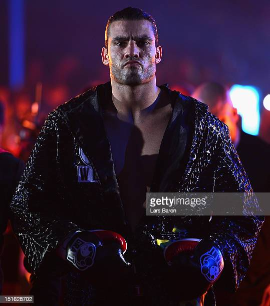 Manuel Charr of Germany is seen prior to the WBCheavy weight title fight between Vitali Klitschko of Ukraine and Manuel Charr of Germany at...