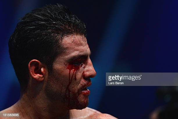 Manuel Charr of Germany reacts after referee Guido Cavalleri of Italy finished the WBCheavy weight title fight between Vitali Klitschko of Ukraine...