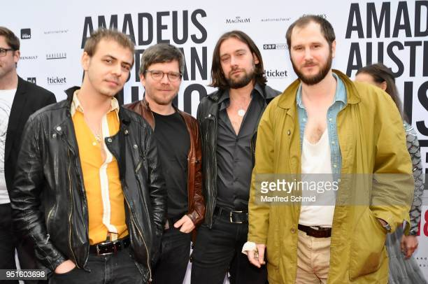 Manuel Christoph Poppe Christian Hummer Reinhold Ray Weber and Marco Michael Wanda of Wanda pose at the red carpet during the Amadeus Award 2018 on...