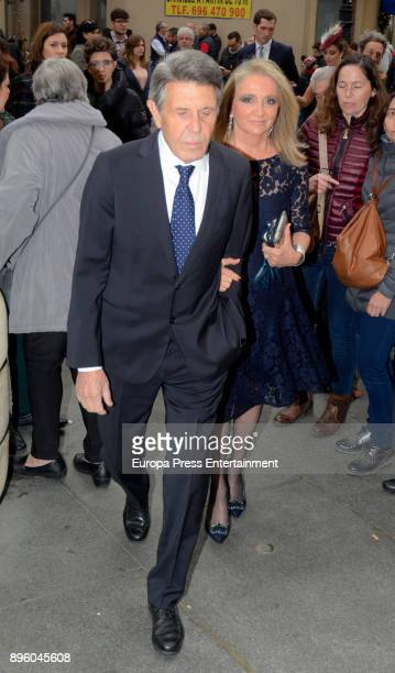 Manuel Colonques and Delfina Sanz attend the wedding of Diego Miranda Alvarez Pickman and Ines Abaurre Benjumea on December 9 2017 in Seville Spain