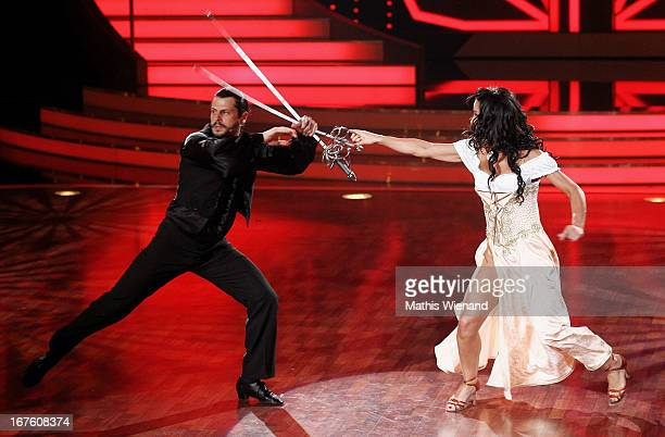 Manuel Cortez and Melissa OrtizGomez attend the 4th Show of Let's Dance on April 26 2013 in Cologne Germany