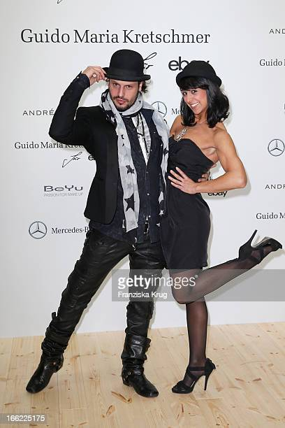 Manuel Cortez and Melissa OrtizGomez attend the Guido Maria Kretschmer For eBay Collection Launch at Label 2 on April 10 2013 in Berlin Germany