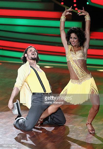 Manuel Cortez and Melissa OrtizGomez attends the 1st Show of 'Let's Dance' on RTL on April 5 2013 in Cologne Germany