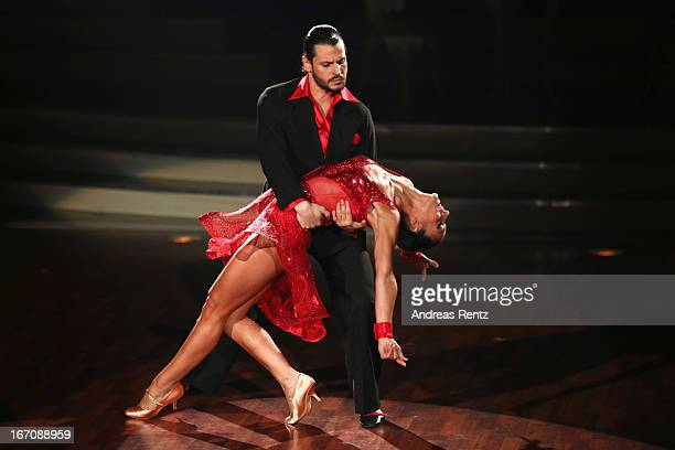Manuel Cortez and Melissa OrtizGomez perform during the 3rd Show of 'Let's Dance' on the German RTL network on April 19 2013 in Cologne Germany