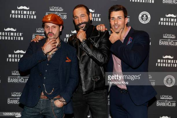 Manuel Cortez Massimo Sinato and Leonard Freier during the Movember X Men Expert Barber Club Charity event at Musikbrauerei on October 31 2018 in...