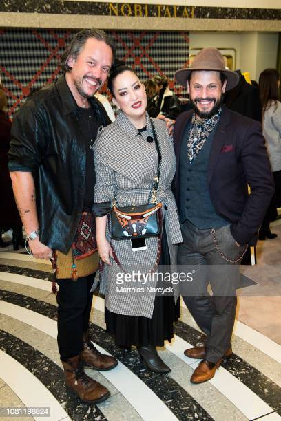 Manuel Cortez Miyabi Kawai and Lars Berger attend the Nobi Talai Pop Up opening at KaDeWe on January 11 2019 in Berlin Germany