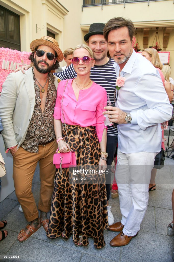 Manuel Cortez, Miyabi Kawai, Martin Stange and Tobey Wilson during the Grazia Pink Hour at Titanic Hotel on July 4, 2018 in Berlin, Germany.