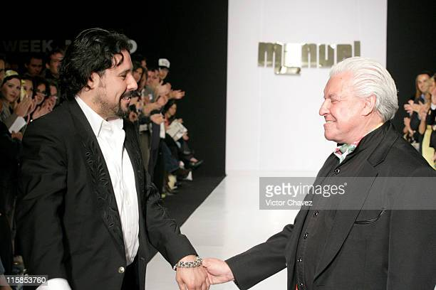 Manuel Cuevas Jr and his father during Mexico Fashion Week Autumn/Winter 2006 Manuel Cuevas Runway at Hotel Camino Real in Mexico City Mexico