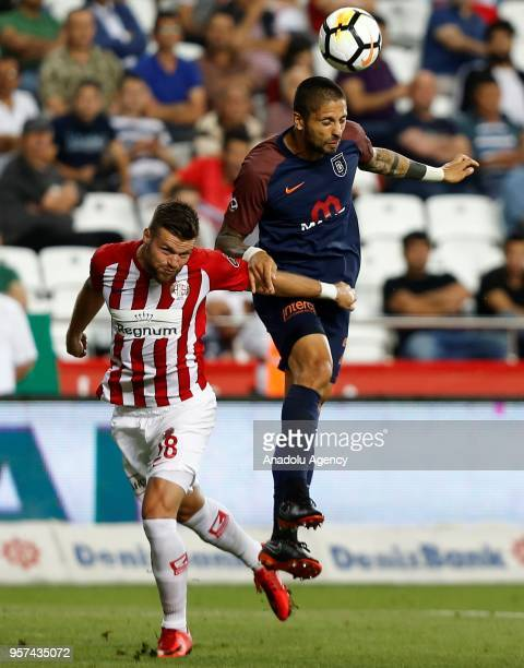 Manuel da Costa of Medipol Basaksehir in action against Celustka of Antalyaspor during the Turkish Super Lig match between Antalyaspor and Medipol...
