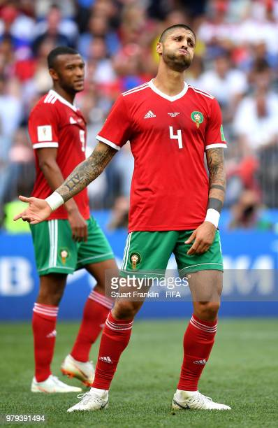 Manuel Da Costa of Morocco reacts during the 2018 FIFA World Cup Russia group B match between Portugal and Morocco at Luzhniki Stadium on June 20,...