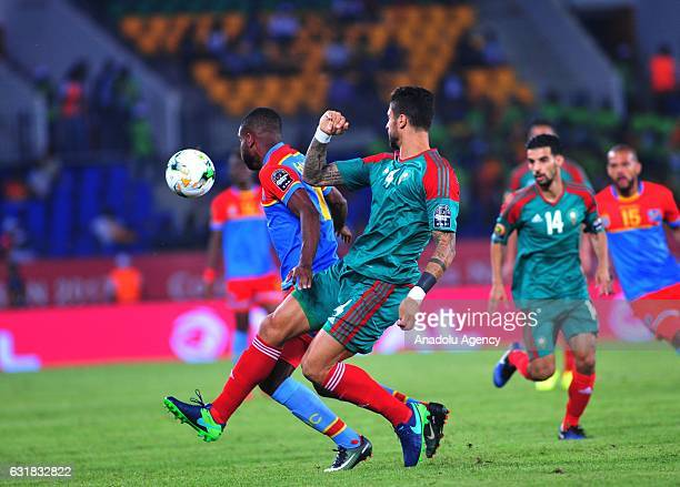 Manuel da Costa of Morocco vies for the ball during the African Cup of Nations 2017 Group C match between DR Congo and Morocco in Oyem Gabon on...