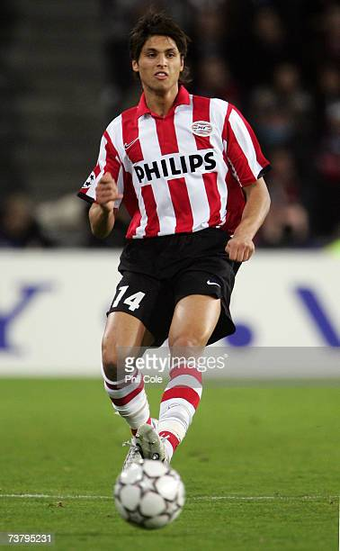 Manuel Da Costa of PSV Eindhoven in action during the UEFA Champions League quarter final first leg match between PSV Eindhoven and Liverpool at the...