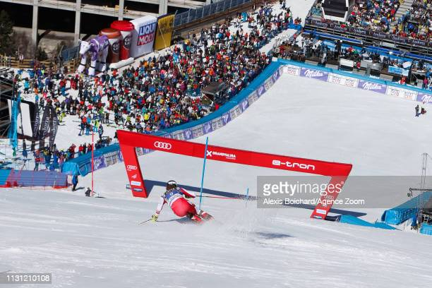Manuel Feller of Austria competes during the Audi FIS Alpine Ski World Cup Men's Slalom and Women's Giant Slalom on March 17, 2019 in Soldeu Andorra.