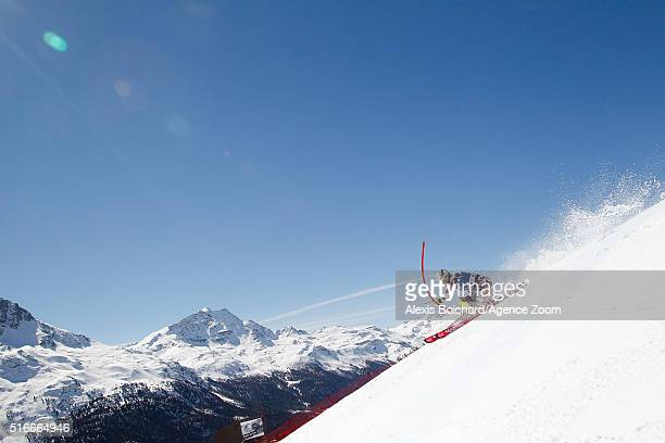 Manuel Feller of Austria competes during the Audi FIS Alpine Ski World Cup Finals Men's Slalom and Women's Giant Slalom on March 20 2016 in St Moritz...