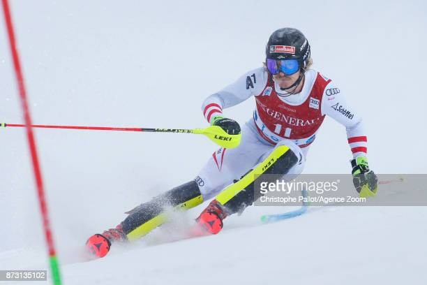 Manuel Feller of Austria competes during the Audi FIS Alpine Ski World Cup Men's Slalom on November 12 2017 in Levi Finland