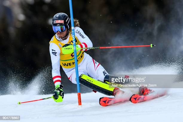 Manuel Feller of Austria competes during the Audi FIS Alpine Ski World Cup Men's Slalom on January 14 2018 in Wengen Switzerland