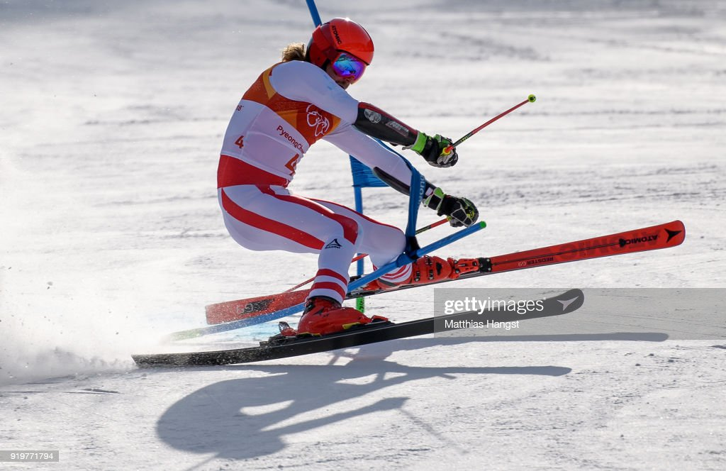Manuel Feller of Austria crashes at the finish during the Alpine Skiing Men's Giant Slalom on day nine of the PyeongChang 2018 Winter Olympic Games at Yongpyong Alpine Centre on February 18, 2018 in Pyeongchang-gun, South Korea.